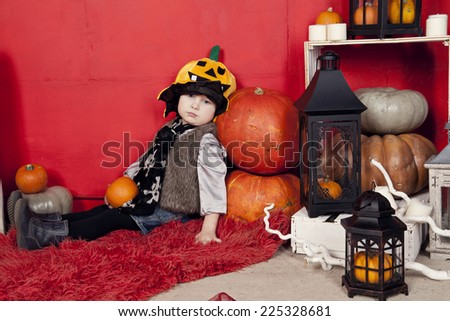 Children and interior for Halloween  - stock photo