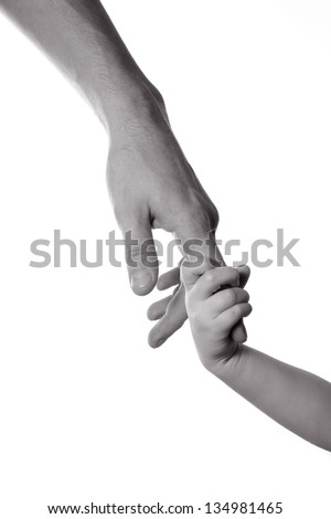 children and man hands isolated on white black and white - stock photo