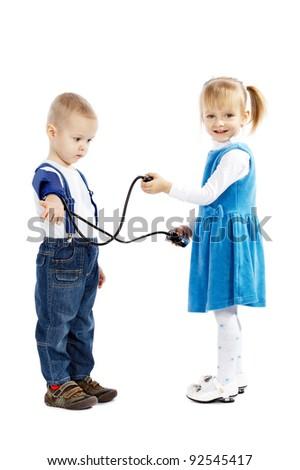 children and tonometer - stock photo