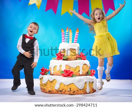 Children are happy and jumping for joy - stock photo