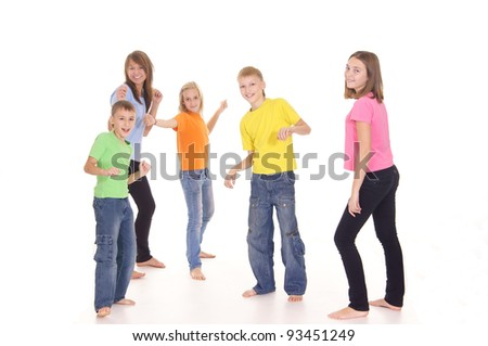 children are having fun on a white background