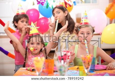children at birthday party - stock photo