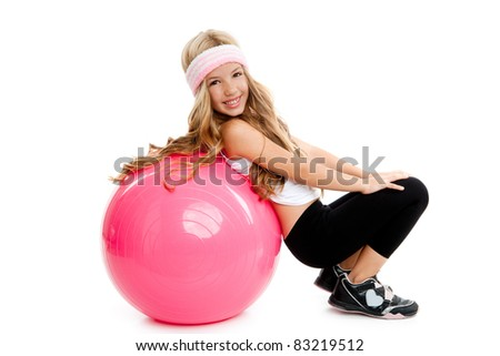children at gym with pilates pink ball on white - stock photo