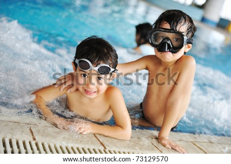 Children at pool, happiness and joy, preparing for the summer! - stock photo