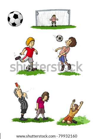 Children at the football game, Illustration - stock photo