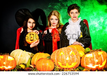 Traditional costumes and pumpkins decoration. Autumn holidays.  sc 1 st  Shutterstock & Children Halloween Party Traditional Costumes Pumpkins Stock Photo ...