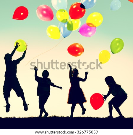 Children Balloon Childhood Fun Playing Concept - stock photo