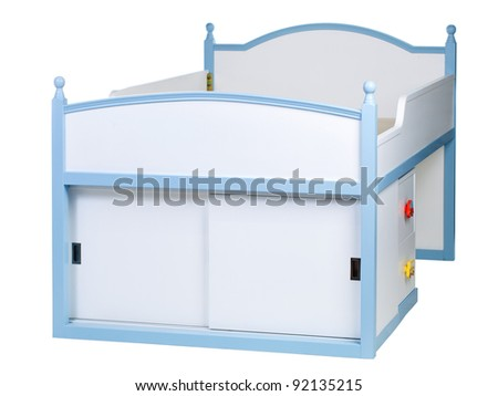 Children bed isolated on white, with clipping path - stock photo