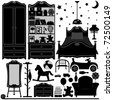 Children Bedroom Interior Design Home Room Furniture - stock vector