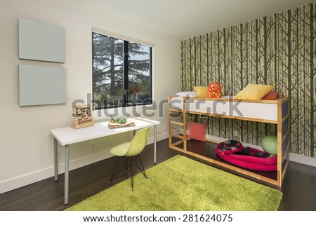 Children bedroom / kids room with olive green wall,book shelf for copy space, carpet and view window - stock photo
