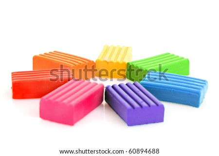 Children bright multicoloured plasticine  isolated on white - stock photo