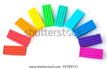 Children bright\ plasticine isolated on white - stock photo