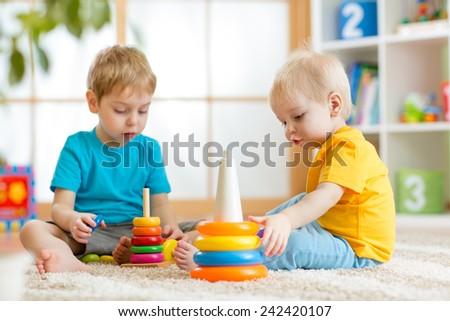 Children Brothers Playing Together Nursery Home Stock Photo ...