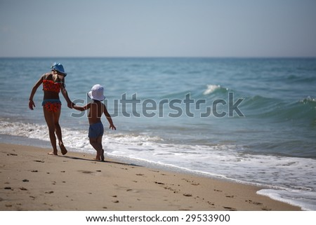 Children by the Sea - stock photo