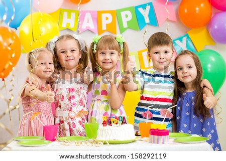 children celebrating birthday party - stock photo