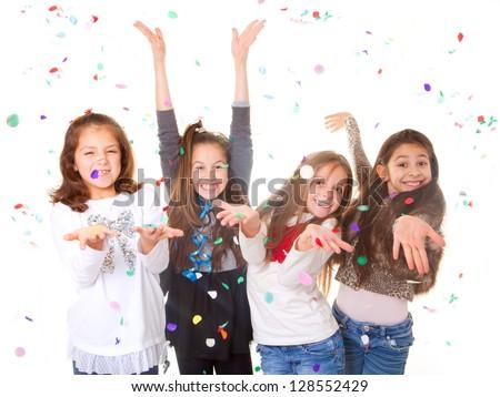 children celebrating party to celebrate birthday or new year. - stock photo