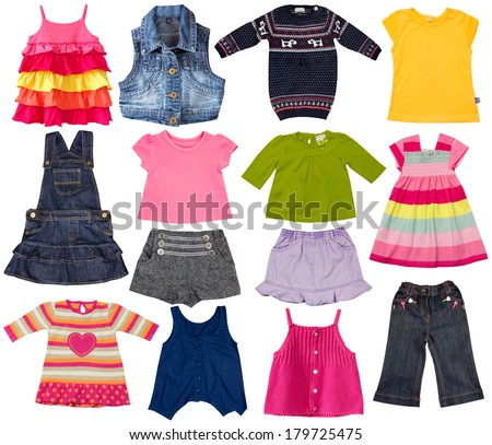 Children clothes collage.Kids fashion clothing isolated on white. - stock photo