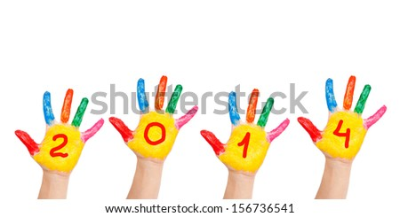Children colorful hands with numerals on the palms forming number 2014, rising up. Painted colorful paints. Isolated on white background. The symbol of the new year - stock photo