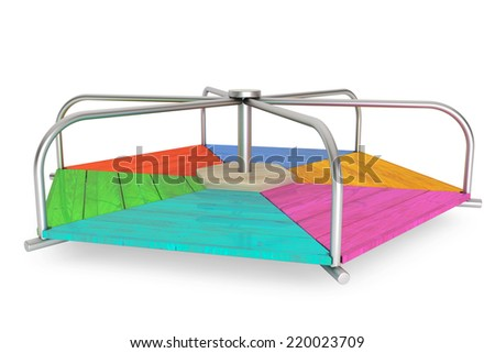 Children colour wooden carousel on a white background - stock photo