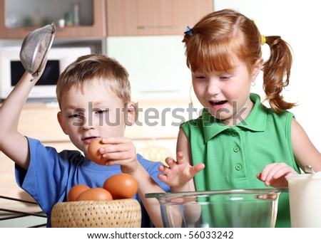 Children cooking - stock photo