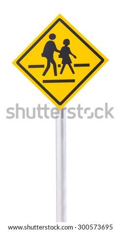 Children crossing the road sign isolated on white - stock photo