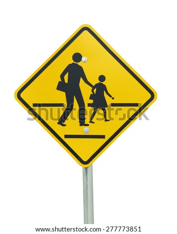 Children crossing the road sign on isolated white - stock photo