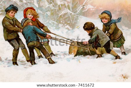 Children dragging home a Christmas Yule Log - a circa 1911 vintage illustration