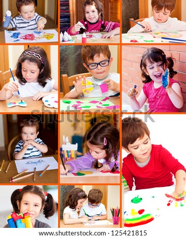 Children drawing and painting, collage - stock photo