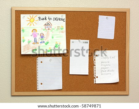 Children drawing, supply list and collection of various note papers on cork board - stock photo