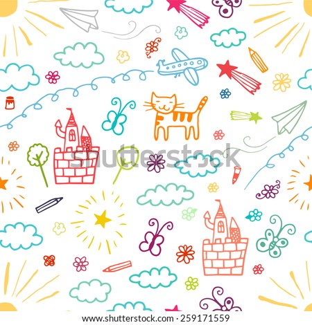 Children drawings color seamless pattern. - stock photo