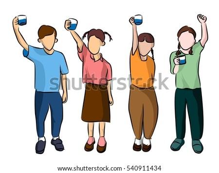 children drinking water stock illustration 540911434 - shutterstock