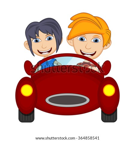 Children driving a car cartoon - stock photo