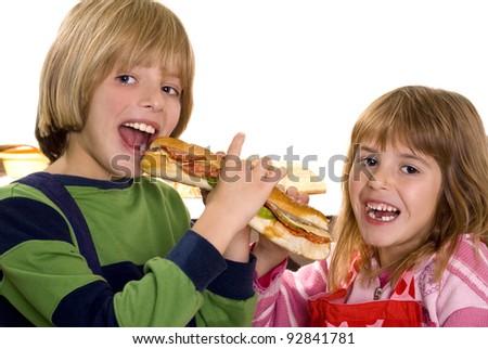 children eating a sandwich - stock photo