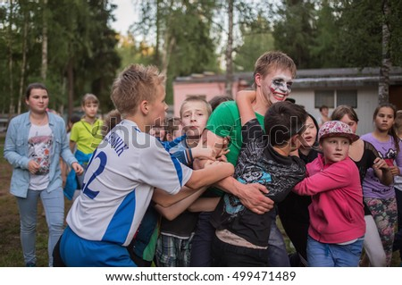 "Children engage in hands guy. Children's camp ""Berezka"".Editorial. Russia. Yaroslavl region 14.06.2016"