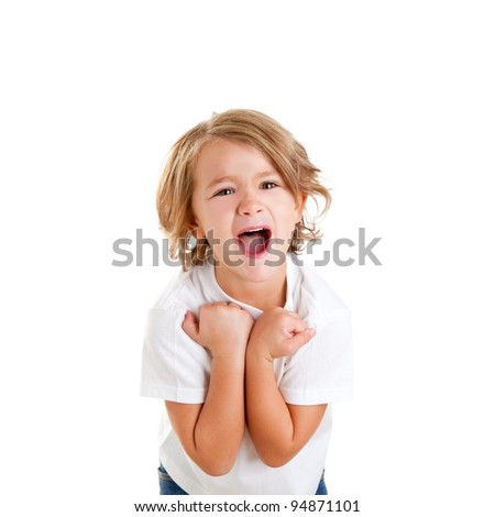 children excited kid with happy winner expression isolated on white - stock photo