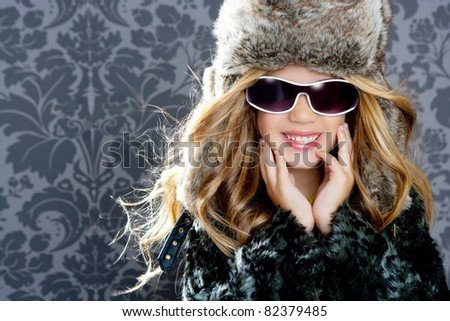 children fashion girl with fur winter coat - stock photo