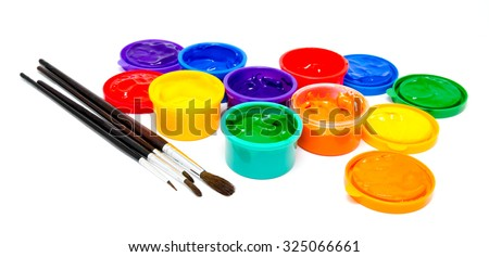 Children finger paint and paintbrushes isolated on a white - stock photo