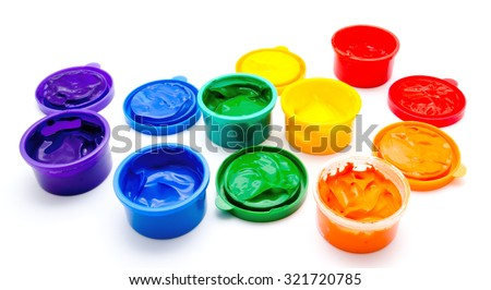 Children finger paint isolated on a white