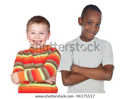 Children friends isolated on a over white background