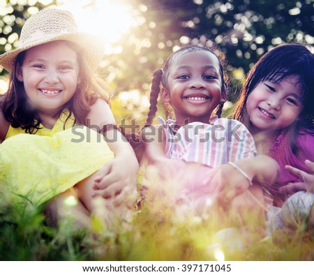 Children Friends Playing Playful Active Concept - stock photo