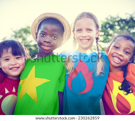 Children Friendship Bonding Outdoors Cheerful Concept - stock photo