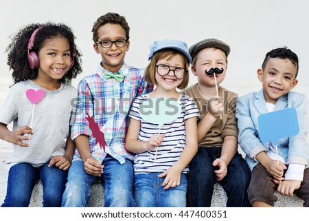 Children Friendship Togetherness Playful Happiness Concept - stock photo
