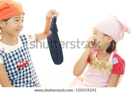 Children frowning - stock photo