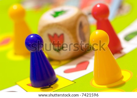 Children game to cube and pieces - stock photo