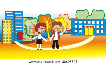 Children go to school - stock photo