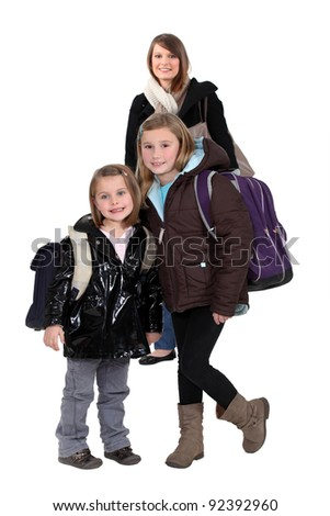 Children going to school - stock photo