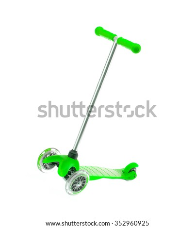 children green scooter isolated on white. - stock photo