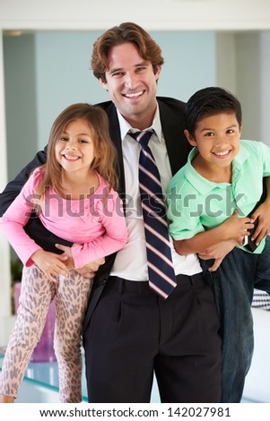 Children Greeting Father On Return From Work