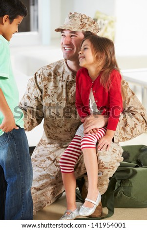 Children Greeting Military Father Home On Leave - stock photo