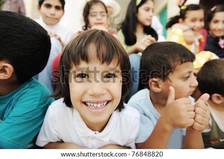 Children group, happiness and togetherness - stock photo